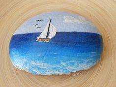 #Hand_Painted_Stones #Home_decoration #Painted_Rock #Pebble #Acrylic #Greek_islands #sea #boat #sand by #GiftsByChrisCrafts