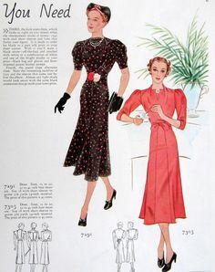 Butterick 7291 and 7305 | ca. 1937 Dress patterns