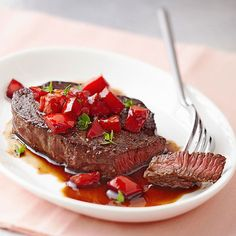 You only need 5 ingredients to make this restaurant-worthy Beef Tenderloin with Balsamic Tomatoes. More healthy recipes for two: www.bhg.com/...