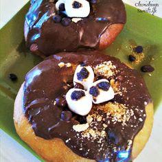 Cherishing A Sweet Life: Chocolate Ganache- Stuffed S'mores Donuts  #SnickerdoodleSunday