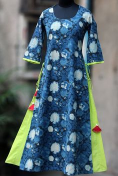 layered long kurta - indigo chalk & green fern