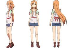 artbooksnat:  Sword Art Online (ソードアート・オンライン)A selection of Asuna's Aincrad battle and casual model sheets, illustrated by anime character designer Shingo Adachi (足立慎吾), from the Sword Art Online Design Works(Amazon Japan) art book.