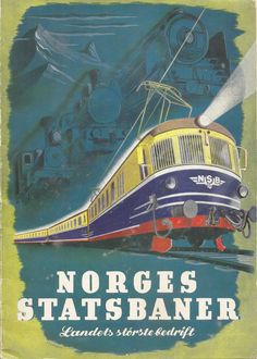 https://flic.kr/p/ddWcyN   Norges Statsbaner, landets storste bedrift - Norwegian State Railways, the country's largest company, 1948   A striking cover to this 1948 booklet issues by NSB showing the modern electric railway forging ahead with the ghosts of the earlier steam locomotives, from which the train proceeds, vanishing like mists. I think that will do for an explanation from me! The artwork is by P Pedersen.