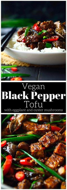 This vegan black pepper tofu recipe is everything you ever wanted tofu to be. It's crispy on the outside, light and airy on the inside and smothered in a savory, sweet, fiery black pepper sauce that will have you licking your chopsticks. Tossed with meaty oyster mushrooms and creamy pan-fried eggplant served over rice, this easy tofu recipe is a complete meal on one plate.