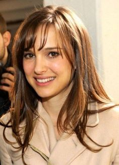 Natalie Portman Casual Layered Long Hairstyles with Side Bangs 2014 with Wispy Bangs
