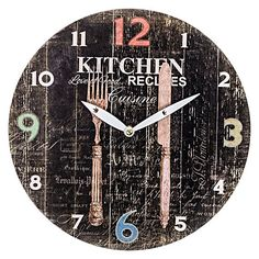 Adorn your kitchen walls with the Kitchen Recipes Wall Clock, 28.8cm from Casa Uno, celebrating a love of divine cuisine.