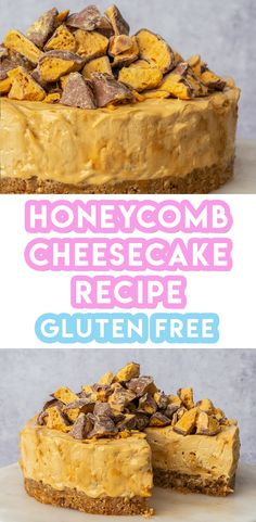 My no-bake gluten free honeycomb cheesecake recipe is so easy to make and you'll have so much fun making your own honeycomb! Patisserie Sans Gluten, Dessert Sans Gluten, Gluten Free Desserts, Gluten Free Recipes, Cheesecake Recipes, Dessert Recipes, Savory Cheesecake, Gluten Free Cheesecake, Homemade Cheesecake