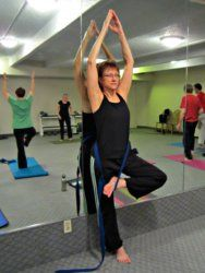 Beginners can do the Tree Pose, easily if they use a yoga strap.  Do it against the wall first to ensure your balance.