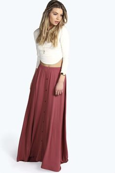 Ruby 90's Grunge Style Button Front Maxi Skirt alternative image