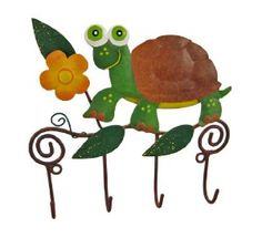 Wall Mounted Turtle Mug / Coat Rack Hanger Tortoise by Things2Die4. $14.99. 6 Inches by 6 Inches. Hand Painted. Made of Metal. This beautiful, hand painted 4 hook wall mounted hanger can be used for many different things. In the kitchen, it can be a mug rack for coffee mugs. In the hallway, it's a great place to hang your keys. In the bedroom, hang scarves and other accessories! The hanger measures 6 inches by 6 inches, and features a hand painted turtle and flowers. I...