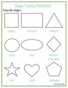 Free printable shapes worksheets for toddlers and preschoolers. Preschool shapes activities such as find and color, tracing shapes and shapes coloring pages. Shape Tracing Worksheets, Shape Worksheets For Preschool, Shapes Worksheet Kindergarten, Pre K Worksheets, Tracing Shapes, Preschool Learning Activities, Free Printable Worksheets, Free Preschool, Preschool Shapes