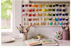 Molly Hatch's beautiful home studio... Jealous? Me? Yep. It's simple, but so pretty. I do love walls of colour samples. {Molly Hatch: News and Projects: Re-centering}