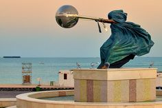 """""""The Force of Nature"""" is a series of sculptures by Italian artist Lorenzo Quinn depicting mother nature as a woman hurling the planet around in circles. The sculpture is very symbolic that seeks to remind humans living """"with a false sense of security"""" of the power of nature, and that she could awaken to fury at any moment."""