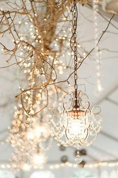 Branch with LED fairy lights and crystal chandelier