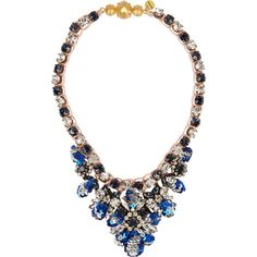 Shourouk Mini Theresa sequin and crystal necklace ($391) ❤ liked on Polyvore featuring jewelry, necklaces, blue, blue crystal necklace, cord necklace, sequin necklace, colorful jewelry and multi color necklace