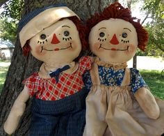 Primitive Raggedy Ann & Andy Doll Set ~ Georgene Style ~ Side Glance ~ Handmade #NaivePrimitive