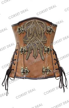 Corset:CD-1301: Steampunk Real leather Corset