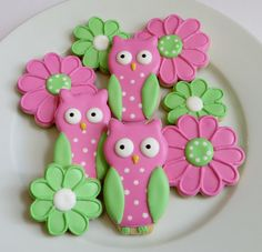 Owl and flower cookie favors decorated in pink by SayitwithHeart, $40.50
