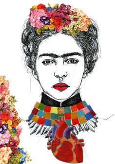 "Frida Kahlo - Desenho ""Frida"" Caneta esferográfica e colagem sobre papel [Ballpoint pen and collage on paper] 21x29 cm Paula Schlindwein 2014"