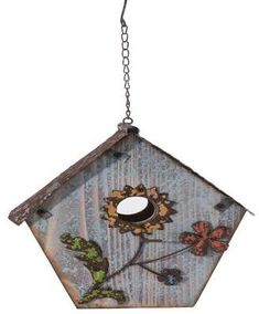 Hand Painted Flower Birdhouse gives your backyard birds a place to roost in this unique hand painted wooden birdhouse.