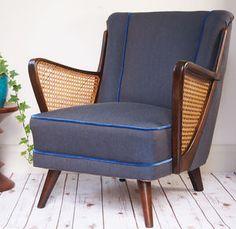 Bespoke Midcentury Armchair In Denim + Velvet - furniture