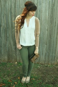 Colored pants, neutral shirts