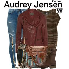 Inspired by Bex Taylor-Klaus as Audrey Jensen on Scream: The TV Series. Fashion Tv, Fashion Outfits, Audrey Jensen, Scream Tv Series, Bex Taylor Klaus, Fandom Outfits, Easy Halloween Costumes, T Shirt And Jeans, Complete Outfits