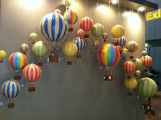 Hot air ballon idea for front of gym, left of door.