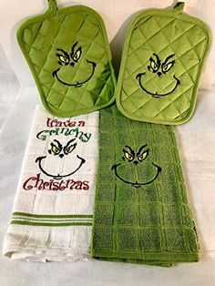 The Grinch Christmas Holiday Embroidered Kitchen Towel & Potholder Set of 4