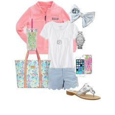 ~vineyard vines pullover, monogrammed bow, lily travel cup, tote, jack Rodgers, jean shorts, tee shirt~