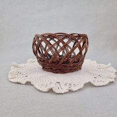 Vintage Miniature Woven Wicker Basket Mini by injoytreasures