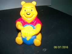 disney winnie pooh vinyl rubber squeak toy figurine honey pot