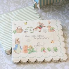 Keep clean at your garden themed baby shower with these cute peter rabbit party napkins!
