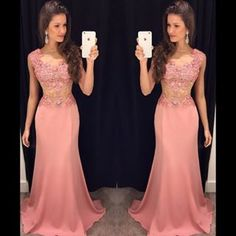 L40 Blush Pink Prom Dresses, Mermaid Prom Dresses,Long Prom Dresses for Senior Teens