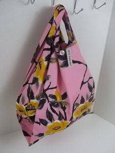 Reusable Lunch Bag // Tsubaki Flower w/Strap and Button Closure | reusable bag, reusable shopping bag, reusable grocery bag, vegan, washable