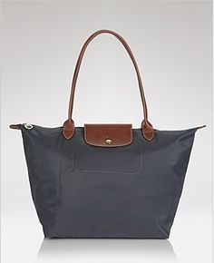 Longchamp Le Pliage Large Shoulder Tote - Graphite Great for traveling and it folds into a small pouch!
