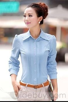Shop Tidestore Attractive Long Sleeves Chiffon Casual Lapel Shirts on sale at Tidestore with trendy design and good price. Cute Fashion, Look Fashion, Skirt Fashion, Asian Fashion, Formal Chic, Beautiful Blonde Girl, Dress Neck Designs, Sammy Dress, Blazers