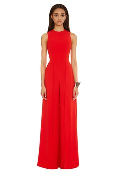Red jumpsuit with fitted top and wide leg trousers. Cape to the reverse which extends from the waist to the floor. Prom Jumpsuit, Wedding Jumpsuit, Jumpsuit Dressy, Jumpsuit Outfit, Cape Jumpsuit, Evening Trousers, Red Wide Leg Pants, Grad Dresses, Formal Dresses