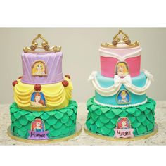 Double Princess Cake Mash Up with Ariel, Belle, Rapunzel, Cinderella & Aurora (Maheen, Minahill)