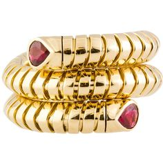 Preowned Marina B. Ruby And Gold Flexible Coil Ring (10,015 NZD) ❤ liked on Polyvore featuring jewelry, rings, multiple, pear cut ring, flexible ring, ruby jewelry, coil ring and red ring