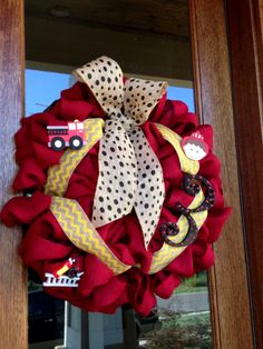 Custom Red Burlap Firetruck Fireman Boy by Frontdoorshowcase, $65.00