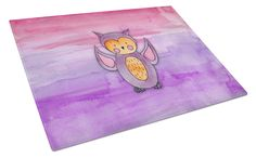Pink and Purple Owl Watercolor Glass Cutting Board Large BB7428LCB