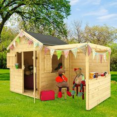 Alpaca children's wooden house with pergola While historical with principle, the pergola has been encountering Pergola Swing, Deck With Pergola, Pergola Patio, Gazebo, Outdoor Play Areas, Outdoor Structures, Backyard For Kids, Wooden House, Kids House