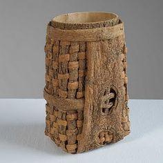 Dorothy Gill Barnes [wondering about melding woven fiber with felted fiber. Willow Weaving, Basket Weaving, Woven Baskets, Contemporary Baskets, Birch Bark, Weaving Art, Sisal, Fiber Art, Repurposed