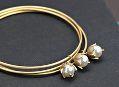 Gold Bangles Bracelet Pearl Bracelet Bangles, Set of Three Gold Bangles Flower Bracelet, Bridesmaid Gift Idea, Modern Bangle, Bridal Jewelry Gold Bangle Bracelet, Flower Bracelet, Bangle Set, Sterling Silver Bracelets, Gold Bracelets, Pearl Jewelry, Bridal Jewelry, Silver Jewelry, Fine Jewelry