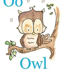 O is for Owl. ALPHABET PRINT. 5X7. Nursery Art Wall by LoxlyHollow, $12.00
