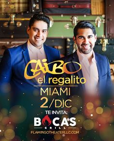 "La agrupación venezolana Caibo llega a #Miami este viernes 2 de diciembre con una presentación especial. La época navideña ya está aquí, y lo celebramos con ""El Regalito"". #BocasGrill Miami, Movies, Movie Posters, Fictional Characters, December, Friday, Film Poster, Films, Popcorn Posters"