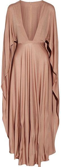 Valentino - Cape-effect Silk-jersey Maxi Dress - Taupe