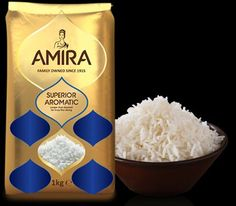 Amira is one of the most authentic brand for Basmati Rice. The company is Global producer of Packaged Food & Indian Specialty Basmati Rice. The company exports its products to five continents around the world. Rice Packaging, Food Packaging Design, Persian Rice, Long Grain Rice, Grains, Recipes, Packing, Continents, Agriculture