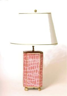 Hand painted pink lamp - Grace Hayes